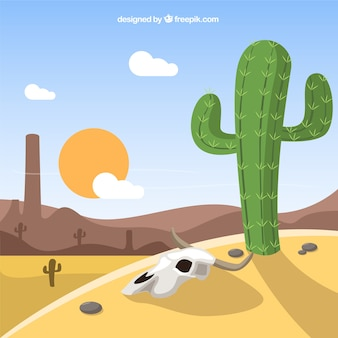 Arid west landscape with cactus
