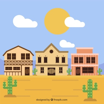 Arid western landscape with houses