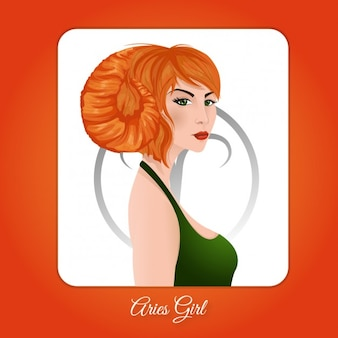 Aries Girl Illustration