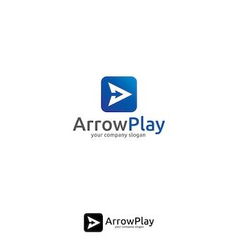 ビデオ、オーディオ、プレーヤー、またはアプリケーションのための矢印と再生のロゴコンセプト。
