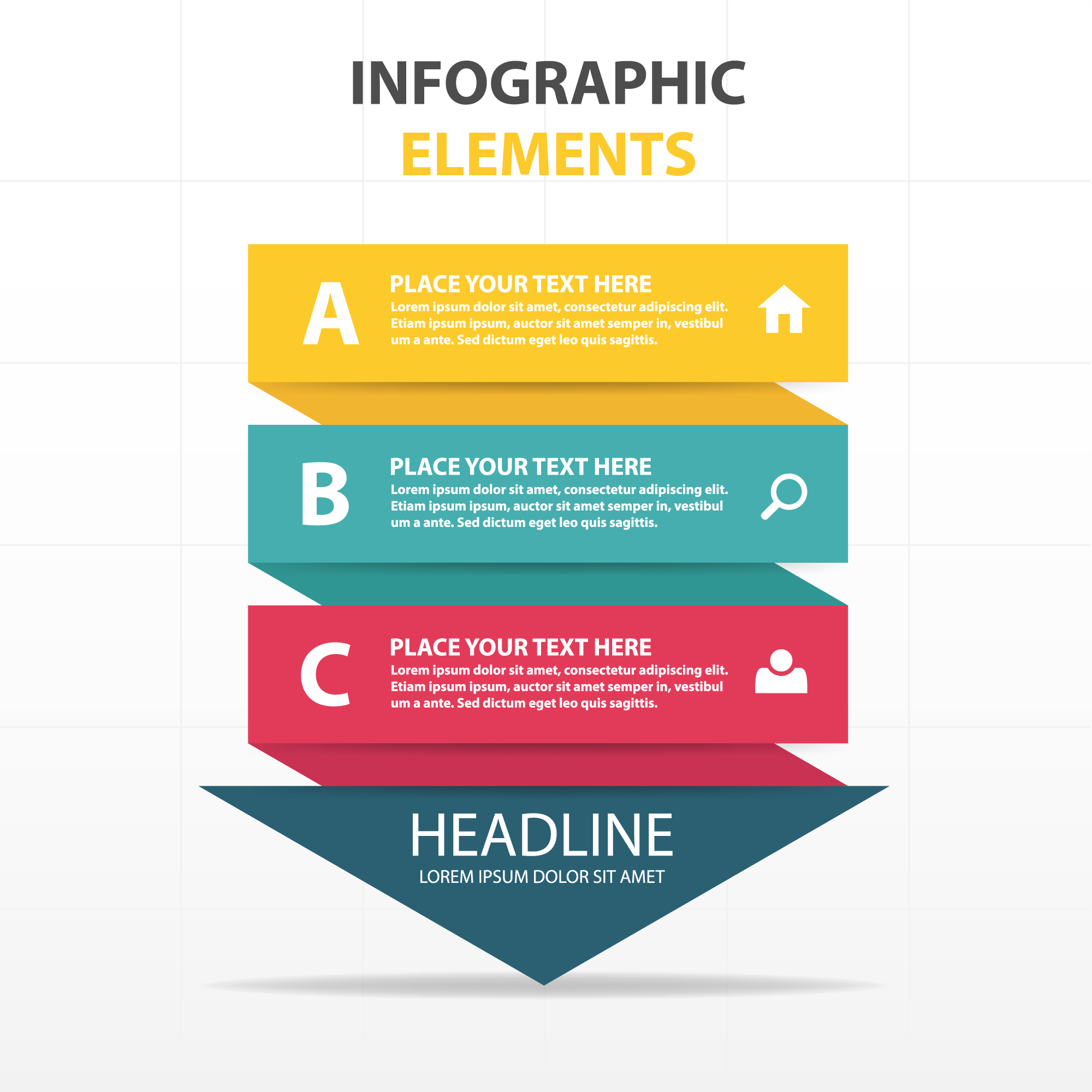 Arrow shaped colorful infographics