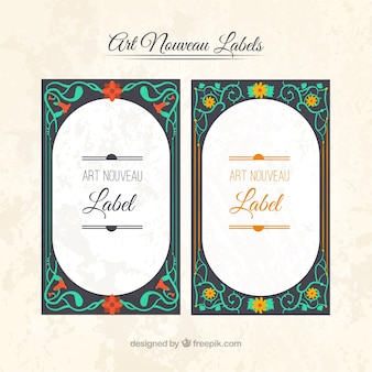 Art nouveau labels in elegant style