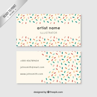 Artist business card in colored style