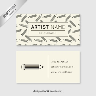 Artist business card with pencils