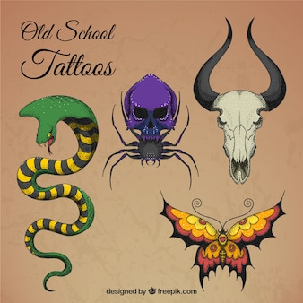 Artistic colored tattoos set