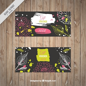 Artistic discount coupons with sketches leaves