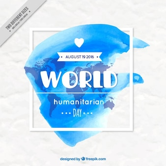 Artistic humanitarian day background in watercolor effect