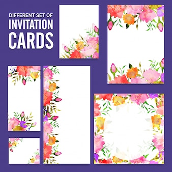 Artistic invitation cards with colorful flowers.