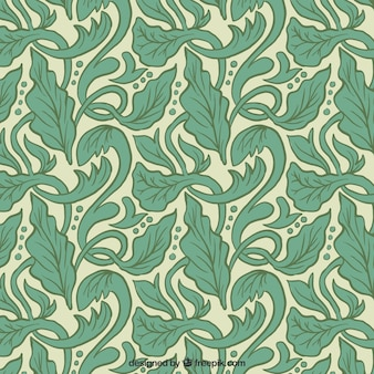 Artistic pattern with hand drawn leaves in art nouveau style