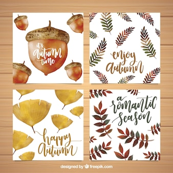 Artistic set of watercolor autumn cards