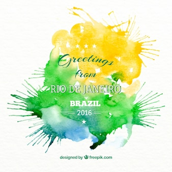Artistic watercolor background of brazil 2016