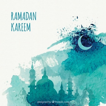 Artistic watercolor ramadan background