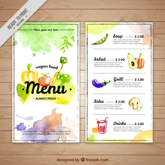 Artistic watercolor vegan menu template