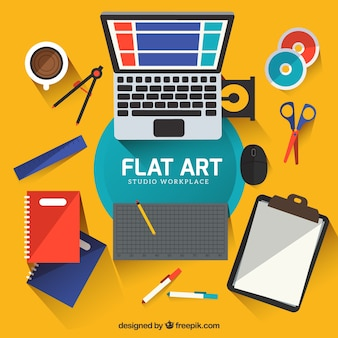 Artwork space in flat design