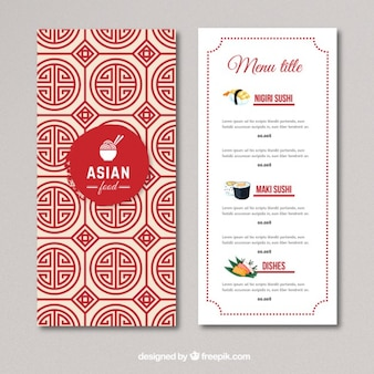 Asian food menu