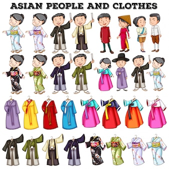 Asian people and clothes illustration