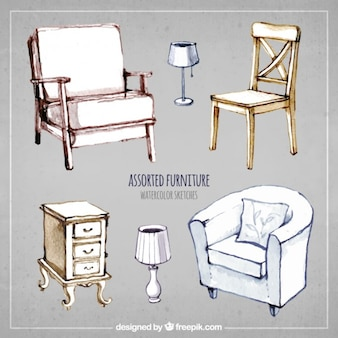 Assorted furniture in hand painted style