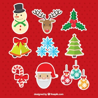 Assorted stickers of ornaments and christmas characters
