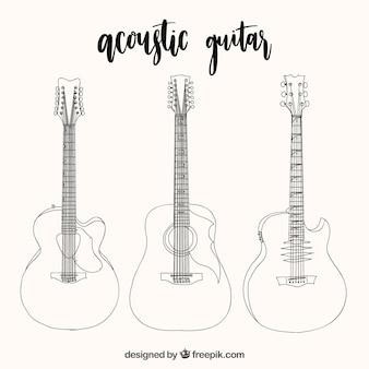 Assortment hand-drawn acoustic guitars