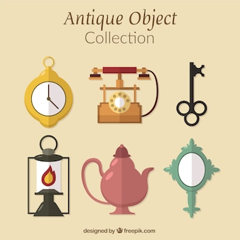 Assortment of ancient artifacts in flat design