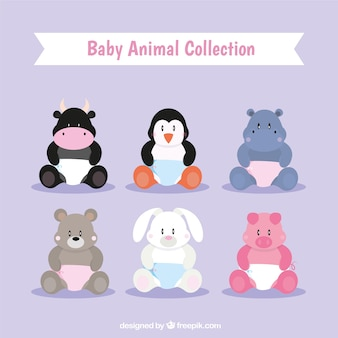 Assortment of baby animals with diapers