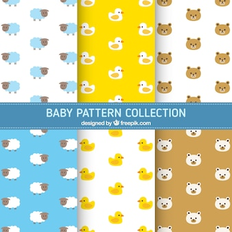 Assortment of baby patterns with beautiful animals