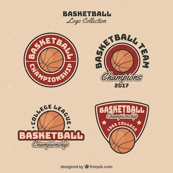 Assortment of basketball logos in vintage style