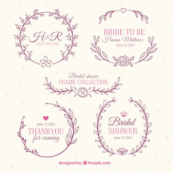 Assortment of beautiful bridal shower frames with floral decoration
