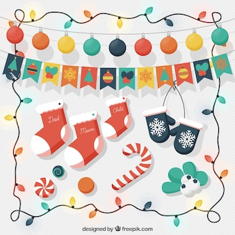 Assortment of beautiful christmas decoration and string lights