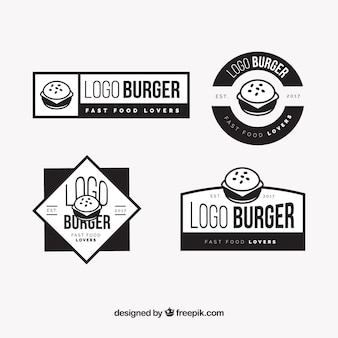 Assortment of black burger logos