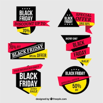 Assortment of black friday labels with yellow details