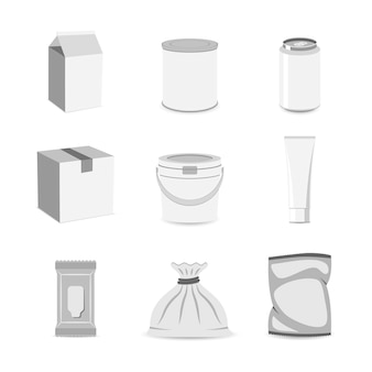 Assortment of blank containers