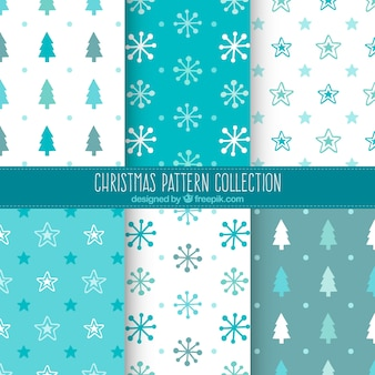 Assortment of blue and white christmas patterns