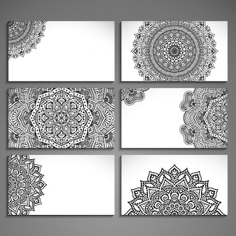 Assortment of cards with ethnic abstract drawings