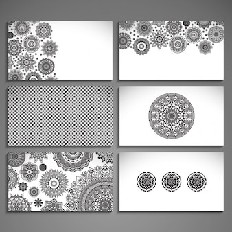 Assortment of cards with mandalas and ethnic drawings
