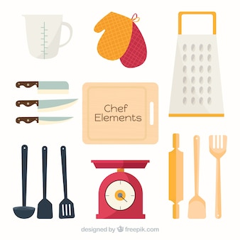 Assortment of chef elements in flat design