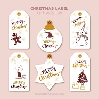 Assortment of christmas labels with drawings