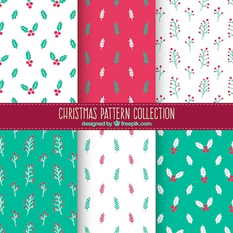 Assortment of christmas patterns with floral elements