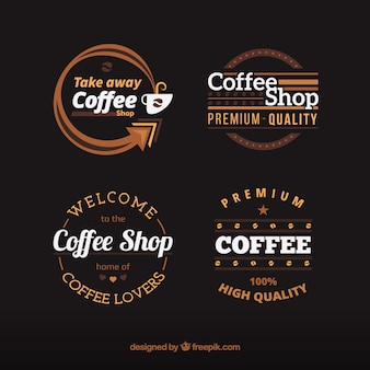 Assortment of coffee badges with white details