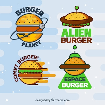 Assortment of colored burger logos