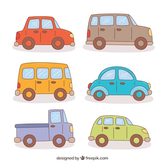Assortment of colored cartoon vehicles