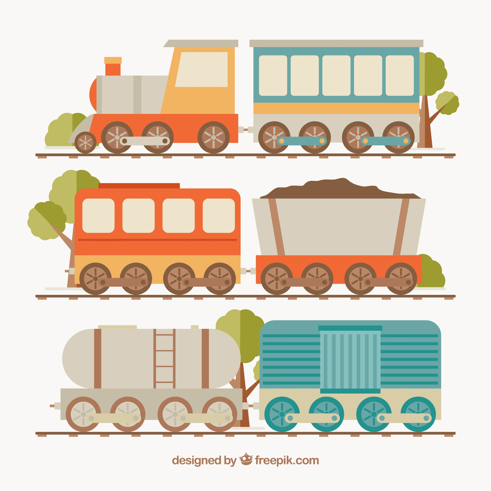 Assortment of colored trains in flat design