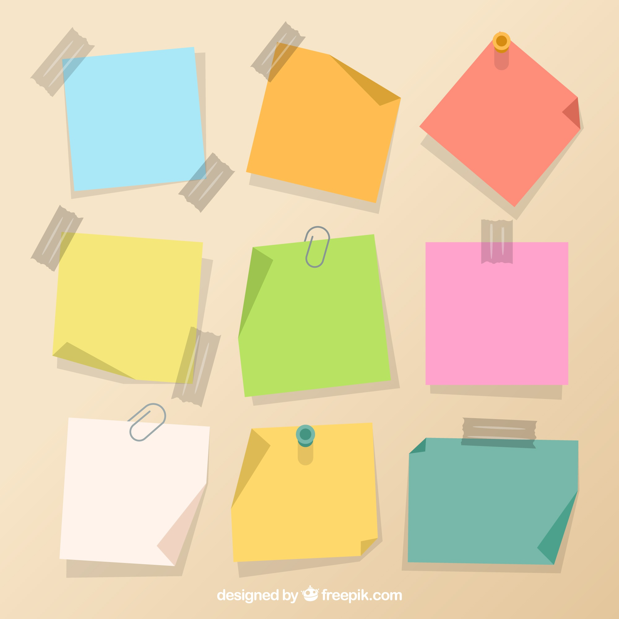 Assortment of colorful adhesive notes