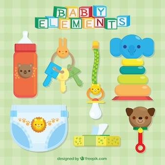 Assortment of colorful baby accessories