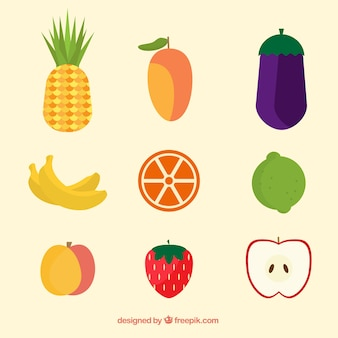 Assortment of colorful fruits in flat design