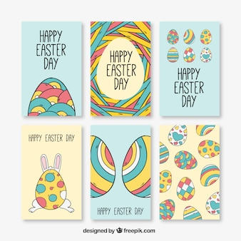 Assortment of colorful greeting cards ready for easter day