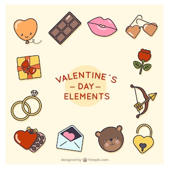 Assortment of colorful valentine's day elements