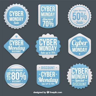 Assortment of cyber monday labels