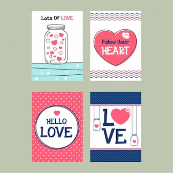 Assortment of decorative cards for valentine's day