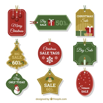 Assortment of decorative christmas tags with great discounts